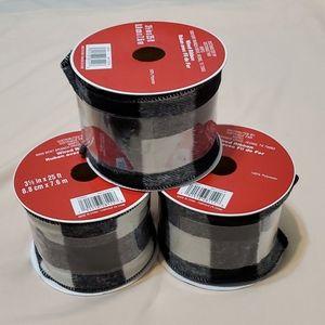 3.5 inch Wired Black/White Ribbon